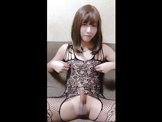 Asian Teen CD Wanking Her Cock